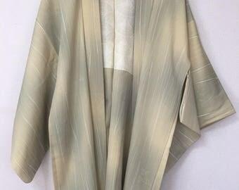 Vintage  Japanese  kimono Jacket, Silk crepe Haori,leaves creamy yellow light green /0050