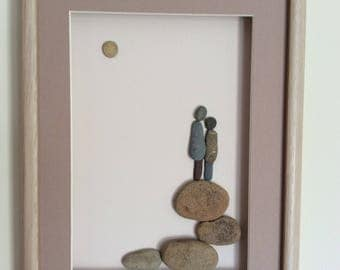Pebble art picture of a couple