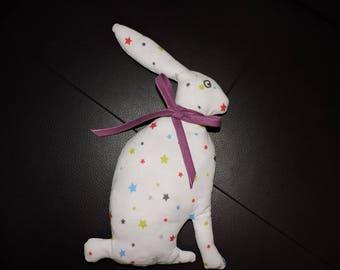 doudou déco lapin blanc avec étoiles multicolores