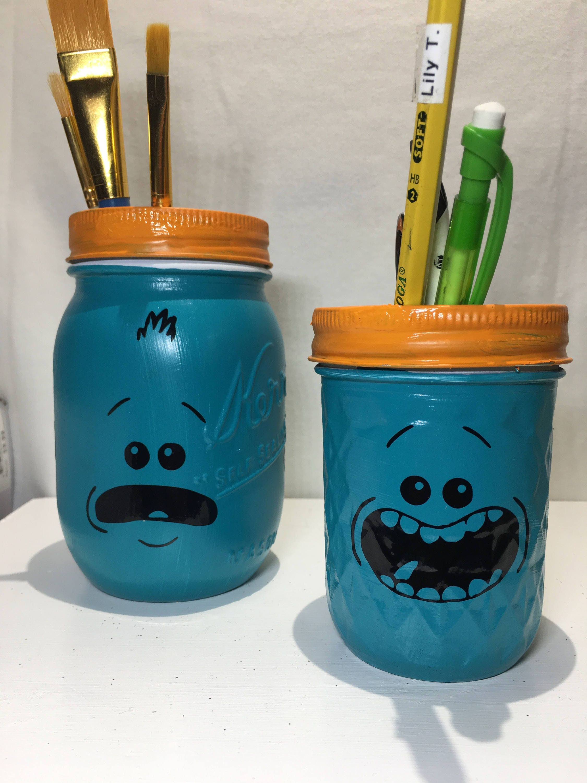 mason jar makeup brush holder. rick and morty mr. meeseeks set of 2 mason jar pen holder office organization container makeup brush
