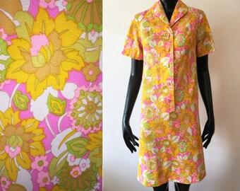 Vintage 1970s Yellow Pink Flower Power Mod Floral Shirt Mini Dress