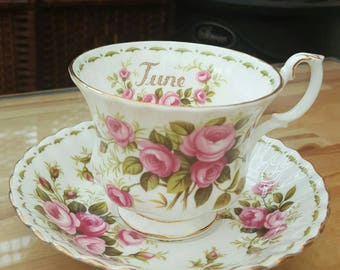Beautiful June rose royal Albert tea cup and saucer (perfect for a June birthday)