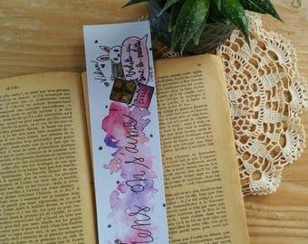 "Handmade bookmarks ""just love"", Bookmark Art drawing print"
