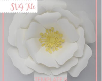 SVG Paper Flower, Paper Flower Template, Giant Paper Flower Template, Flower Template, DIY, Base and Instruction Including