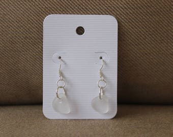 White Beach Glass Dangle Earrings