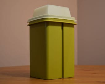 Vintage Tupperware made in Canada 1330-6 green storage canister with clear lid