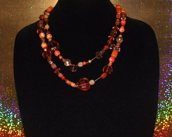 Hand knotted beaded necklace