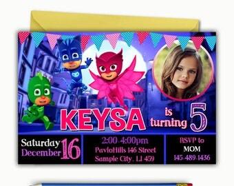 Pj Masks Invitation, Pj Masks Birthday Invitation, Pj Masks Birthday, Pj Masks Printable, Pj Masks Invite, Pj Masks Card, Pj Maks Party