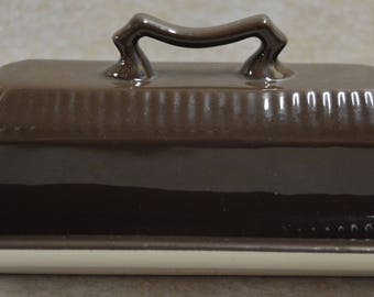 Chocolate Brown Independence Ironstone Interpace Japan Covered Butter Dish