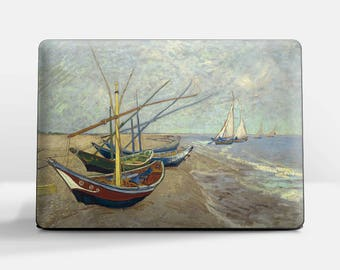 """Laptop skin (Custom size). Vincent Van Gogh, """"Fishing Boats"""". Laptop cover, HP, Lenovo, Dell, Sony, Asus, Samsung etc."""