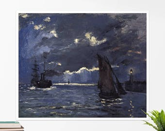 "Claude Monet, ""A Seascape, Shipping by Moonlight"". Art poster, art print, rolled canvas, art canvas, wall art, wall decor"