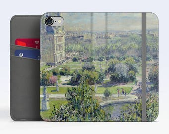 "Claude Monet, ""Les Tuileries"". iPhone 8 Wallet case, iPhone 7 Wallet case  iPhone 6 Plus Wallet case. Samsung Wallet cases."