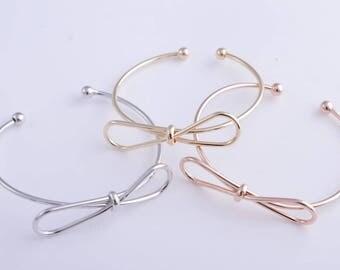 Bow Bracelets Rose Gold Silver or Gold Bangles