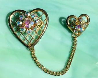 Heart Pin | Rhinestone Heart Brooch | Heart Jewelry | Crystal Heart | Gifts for Her | Rhinestone Jewelry | Vintage Jewelry