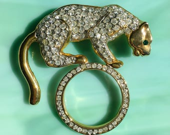 Cat Lover Gifts | Rhinestone Tiger Pin | Tiger Brooch | Tiger Jewelry | Cat Pin | Nature Jewelry | Gift for Her | Vintage Rhinestone Jewelry
