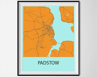Padstow Map Poster Print - Orange and Blue