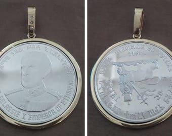 A 1972 14kt Gold  Ethiopian 10 Dollar Haile Selassie I  Commemorative Silver Coin Pendant.
