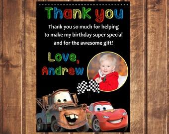 Cars thank you card, Disney Cars thank you card, Disney Cars card, Cars Birthday party, Cars Birthday card, Cars Birthday card