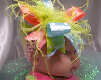 Large Pink, Blue, and Green Bow Headband