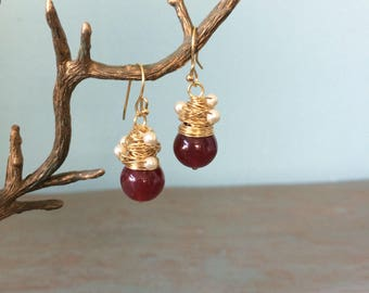 Wire wrapped dark red earrings