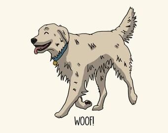 Golden Retriever Postcard: Woof!