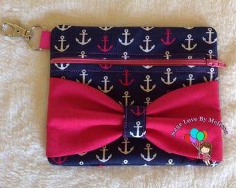 Anchors & Bow Zipper Pouch