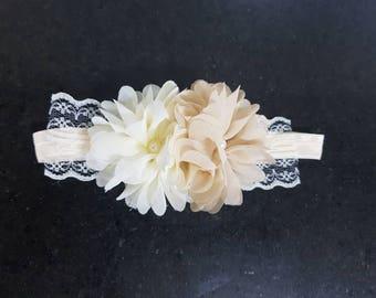 Baby Girl Tan & Cream Flower Lace Elastic Headband