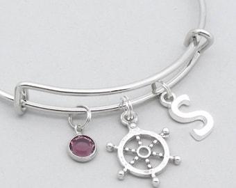 Nautical ship wheel charm bracelet monogram initial | sailing bracelet | personalised sailing jewelry | ship wheel jewelry | sailing gift