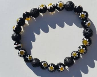 Various lava bead bracelets , sun flower , brown, greens and Yellows