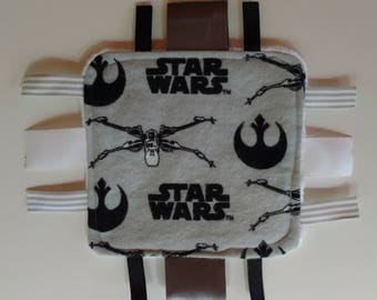 Star Wars Baby Toy - Sensory Crinkle Ribbon Baby Toy - Gray & White - 5x5 inches