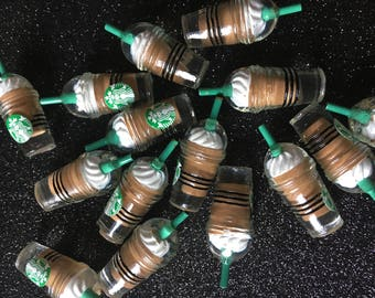 6pc. Chocolate Starbucks Frappuccino 3D Resin Charm