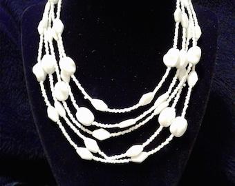 5-Strand Assorted White Beaded Chocker #97