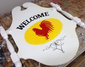 Hand Painted Rooster Welcome Sign