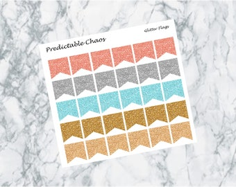 Glitter Flags, planner stickers