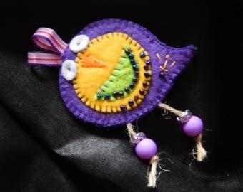 CHILD BROOCH - Birdie violet and yellow felt