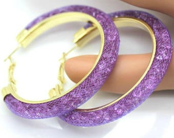 Purple Hooped Earrings,Hoop Earrings,Purple Circle Earrings,Circle Earrings,Large Purple Earring Hoops,Thin Purple Hooped Earrings,