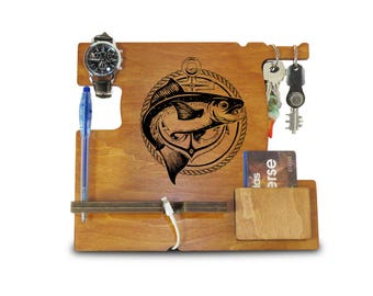 Fisherman present, iPhone Dock, Fathers Day Gift from Daughter, Dad Gifts, Personalized Gift for Dad, Gifts for Dad from Son, Gift from Wife