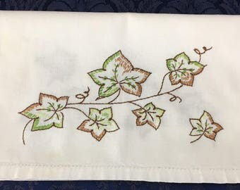 Vintage Linen Hand Embroidered Table Runner Dresser Scarf with Brown and Green Leaves