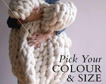 Custom Hand Knitted Giant Chunky Knit Blanket - Stockinette Stitch