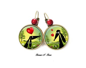 "Earrings ""Puppy Love"" dog earrings costume jewelry"