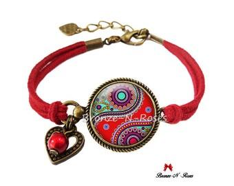 Bracelet * Indian paisley * bronze red glass cabochon