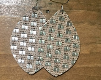 Silver Weave Leather Earrings
