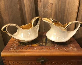 Vintage Pearl China Pearlized/Iridescent Cream and 22K Gold Sugar Bowl and Creamer Set - Lusterware