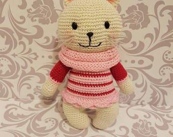 Cute crocheted amigurumi cat kitty handmade süß gehäkelt katze geschenk idee