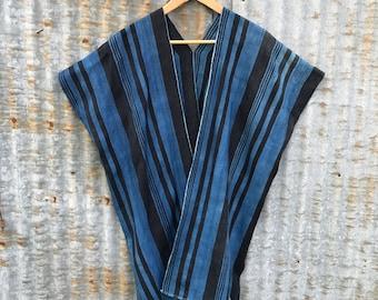 Indigo Striped Duster • Mudcloth Tunic • Handwoven Poncho
