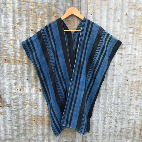 Indigo Striped Duster • Mudcloth Tunic • Handwoven Poncho