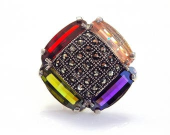 Sterling Silver Multicolor Cubic Zirconia Marcasite Accent Ring