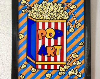POP Art/Original art, Contemporary art, Montana artist, Acrylic painting, Pop, Art collectors, Colorful, Decor, Housewarming gift, Popcorn