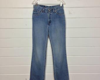 Vintage 1990s Levi's 517 Medium Wash Jeans / High Waist / Cotton Denim / Straight Leg / 28x32