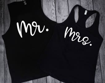 Mr and Mrs Shirts, Hubby And Wifey Shirts, Matching Tank Tops, Husband And Wife Sets, Wedding Day Shirts, Honeymoon Shirts